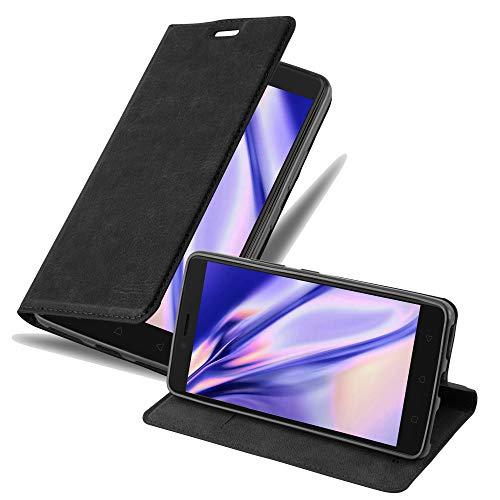 Cadorabo Hülle für Lenovo K6 Note - Hülle in Nacht SCHWARZ – Handyhülle mit Magnetverschluss, Standfunktion & Kartenfach - Case Cover Schutzhülle Etui Tasche Book Klapp Style