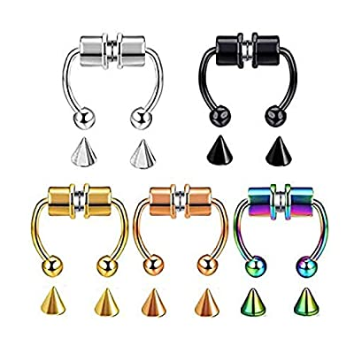 Magnetic Septum Nose Ring Horseshoe Fake Nose Ring Hoop Reusable Nose Ring Hoop Non-Piercing 316L Stainless Steel