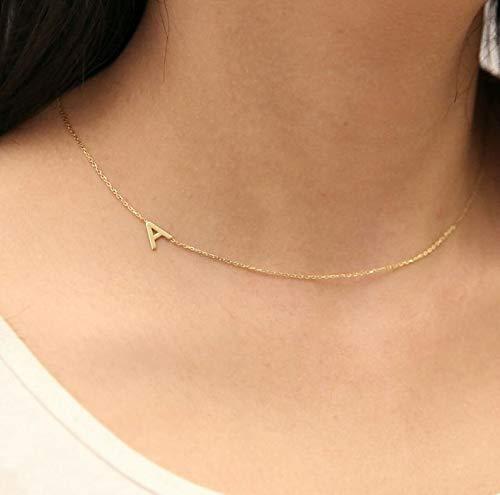 HED Sideways Anfangs Halskette A-Z Brief Namenskette Gold-Silber-Halskette Liebesbriefe 26 (Main Stone Color : Gold Color, Metal Color : K)