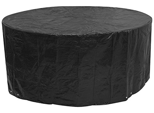 Woodside Black Large Round Outdoor Garden Patio Furniture Set Cover 2.27m x 1m/7.4ft x 3.25ft