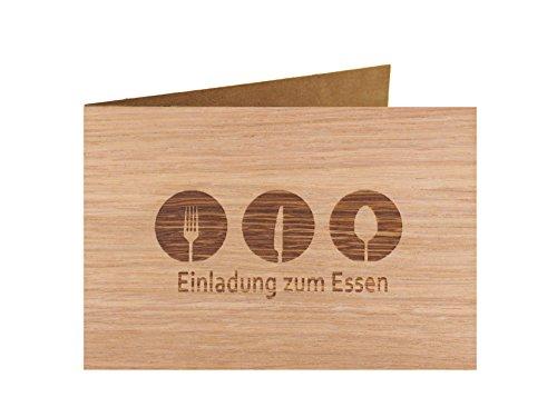 Holzgrußkarte - Spruchkarte - 100% handmade in Österreich - Postkarte Glückwunschkarte Geschenkkarte Grußkarte Klappkarte Karte Einladung, Motiv:EINLADUNG ZUM ESSEN