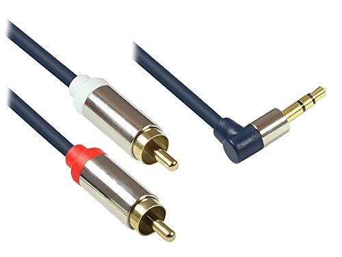 Good Connections GC-M0064 Audio Anschlusskabel High-Quality 3,5 mm, Klinkenstecker rechts abgewinkelt auf 2x RCA (Cinch) Stecker, OFC, Vollmetallgehäuse, 1,5m dunkel blau