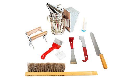 SunVara Beekeeper Toolkit Nine Piece Essentials | Beekeeping Starter Kit | Bee Smoker, Hive Tools, Uncapping, Queen Marking …