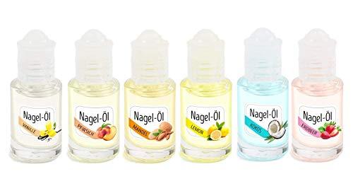 KM-Nails Set mit 6x super duftendem Nagelöl je 6ml im iroll gegen Austrocknung nach Desinfektionsmittel Verwendung