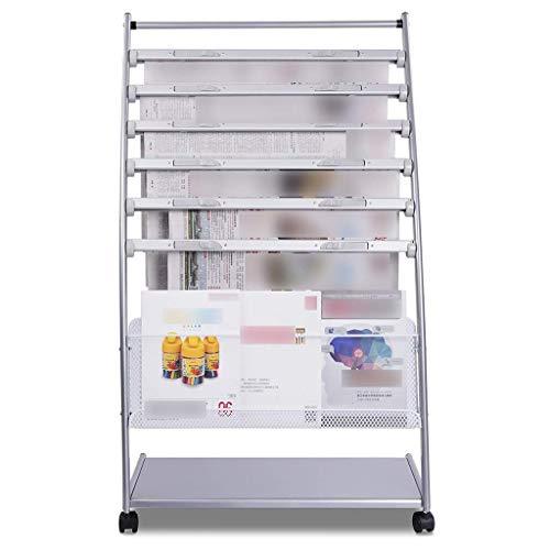 CESULIS Oficina Estante periódico oficina vestíbulo estante estante de libros de aterrizaje de exposiciones datos de la libreta de rack (Color: blanco, tamaño: 108 * 63.5 * los 36CM) estante para libr