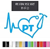 Set of (2) TWO || Heartbeat PT (Physical Therapist) || Vinyl Graphic Decal Stickers for Vehicle Car Truck Window Laptop Tablet Cooler Locker Planner || High Quality Outdoor Rated Vinyl || 5