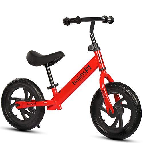 RR-Bike Bicicleta De Equilibrio De 12 Pulgadas/Niño Pequeño para 3 4 5 6 Años De Edad para Niñas, Sin Pedal Deporte para Niños Bicicleta para Niños Bicicleta Inflable Neumático No Inflable,Red
