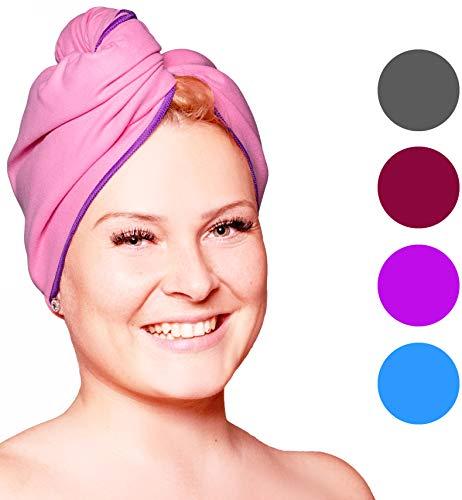 Fit-Flip Haarturban Mikrofaser – saugstark und schnelltrocknend - Spezial Turban Handtuch als auch Haarhandtuch (1 Stück rosa-lila)