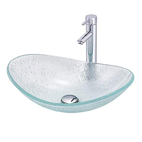 SHENXINCI Lavabos sobre Encimera Vidrio Templado Transparente Lavabo de Arte Creativo de Baño Lavabo De Lujo Ovalado con Grifería Y Desagüe,con Grifería Y Desagüe,(21,26 * 6,50 * 0,47 Pulgadas)