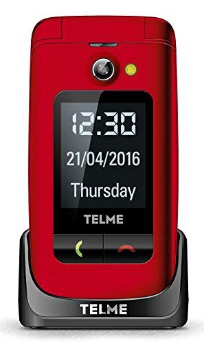 Emporia TellMe X200 Grosstasten-Klapphandy (mit Farbdisplay Aussendisplay Notruftaste VGA-Kamera), Rot
