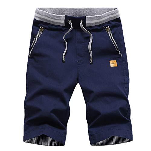 Herren Sweatshorts/Skxinn Männer Sommer Sweat Short Baumwolle Kurze Hose JogginghoseSweatpant Sport Shorts Kordelzug Regular Fit M-4XL Ausverkauf(Dunkelblau,Large)