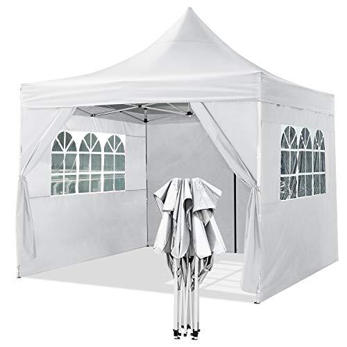 YUEBO Cenador Plegable 3x3m Carpas Plegables Pop Up Gazebo Impermeable con 4 Paredes Laterales Pergola Plegable Cenadores para Jardin