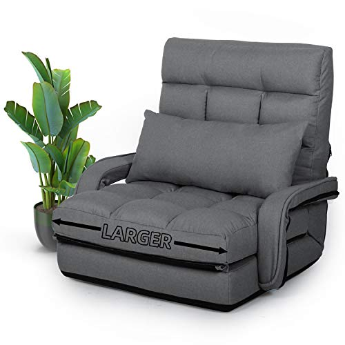 STHOUYN Chaise Lounge Indoor, Folding Floor Lazy Sofa Foldable Bed Chair 5-Position Adjustable Comfy Gaming Recliner Chair Padded Seats with Armrests a Pillow, Chaise Couch Living Room (Grey)