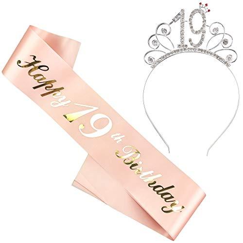 Ouceanwin Geburtstagskrone Schärpe Junggesellinnenabschied Set, Kristall Tiara Krone Haarreif Stirnband mit Schärpe aus Satin für 19 Geburtstag Mädchen Kinder Deko Accessoires Geschenk