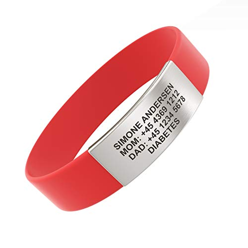 Djuva ID Armband (Model Beat Rush) - Personalisierte ID für Kinder, Identifikationsarmband, ID Armband und Sport ID (M (17cm), Rot)