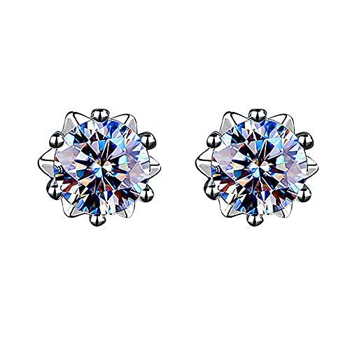Y/X Pendientes de diamantes Moissan de 1 quilate, pendientes de plata de ley 925, pendientes de copo de nieve con diamantes clásicos de seis garras para mujer (estilo: 50 puntos de diamante)