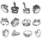 vcedas anelli vintage punk 12 pezzi/set carino animale anello aperto gotico impilabile regolabile anelli drago serpente monili freddi per donna e uomo