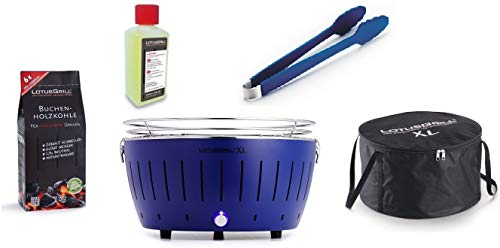 LotusGrill XL Starter-Set 1x XL Grill Tiefblau mit USB-Anschluß, 1x Buchenholzkohle 1kg, 1x Brennpaste 200ml, 1x Grillzange, 1x Transport-Tragetasche XL - Der raucharme Holzkohlegrill