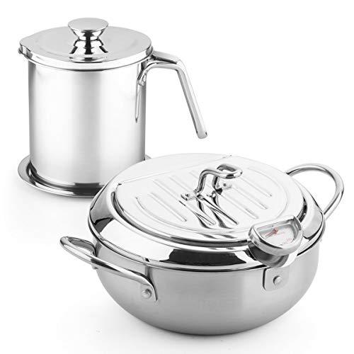 stainless steel fryer pan Tempura Japanese Style Household Frying Pot Kitchen Deep Fryers Tempura Fryer Pan PFOA free (9.8 * 6in 3.38Quart & 1.7L Filter pot)
