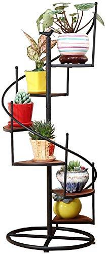 NMDD Blumenständer Pflanzenständer 6/8 Stufen Drehleiter Blumenständer mit Holz und Eisen Metall - Gartentreppe Blumentopfhalter Innenlagerecke Regal für Wohnzimmer/Balkon Innen oder Ourdoor