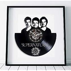 Kovides Supernatural Art Wall Clock Large Serial Art Winchester Brother Art Birthday Gift for Fan Lp Retro Vinyl Record Wall Clock Handmade Gift Serial Art Supernatural Clock Wall Clock Vintage