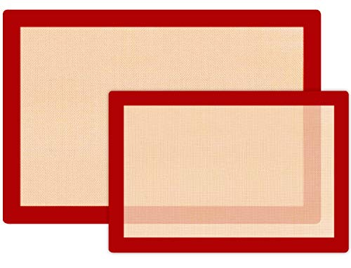 Kitchen (2 Pack) Silicone Baking Mat Sheet Set - Reusable Baking Mat Nonstick - Half Sheet Baking Mat For Oven - Red