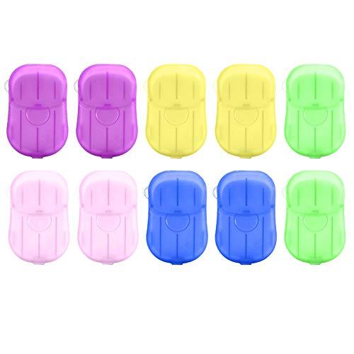 RTUQ Juego de 10 pastillas de jabón desechables para lavar a mano, con 200 hojas, limpieza profunda e hidratante, para viajes de negocios, familias de viaje, cocinas, baños