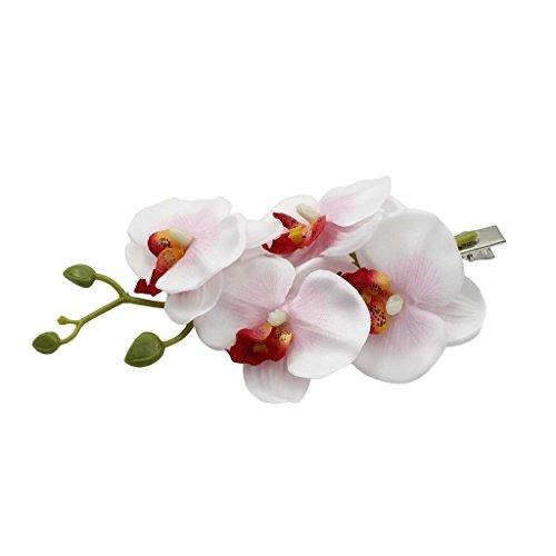 VANKER 1Pc Blanc&Rose Mode Femme Phalaenopsis Épingle à Cheveux Clip à Cheveux pour Mariage Accessoire des Cheveux Nuptial