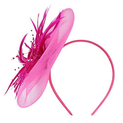 CANDLLY Stirnband Damen, Netzfedern groß Blumenstirnband Party Mädchen Frauen Hochzeit Fascinator Kopfbedeckung Kopfschmuck Stirnband Zubehör(Hot Pink,One Size