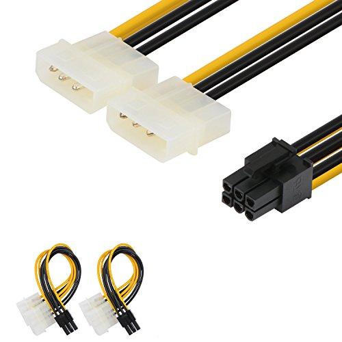 2er-Pack Netzkabeladapter von J&D, 6-polige PCI-E-Stromverbindung auf 2x 4-polige Molex-LP4-Stromverbindung, 6Zoll / 15cm, schwarz 2er-Set