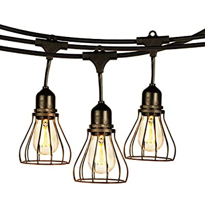 Brightech Ambience Pro Teardrop - LED Outdoor String Lights with Industrial Teardrop Cages - Commercial Grade, Waterproof, Hanging Lights - 48 Ft Patio Lights Create Vintage, Rustic Feel in Your Yard