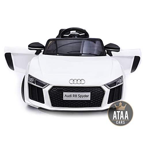 ATAA CARS Audi R8 Spyder Licenciado 12v Asiento Piel, Ruedas de Goma - Coche eléctrico para niños - Blanco