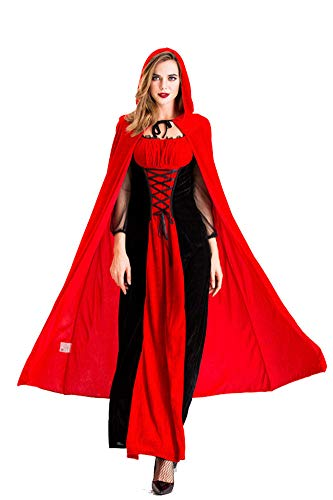 Chuangminghangqi. Disfraces de estilo retro de vampiro para Halloween y mujer, disfraz de carnaval, para adultos, cosplay, medieval, bruja, vestido largo con capa con capucha roja, fiesta rojo L