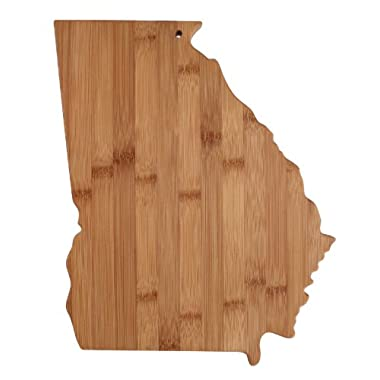 """Totally Bamboo State Cutting & Serving Board – """"GEORGIA"""", 100% Organic Bamboo Cutting Board, Extremely Strong and Durable Perfect for Cooking, Entertaining, Décor and Gift Set. Designed in USA"""