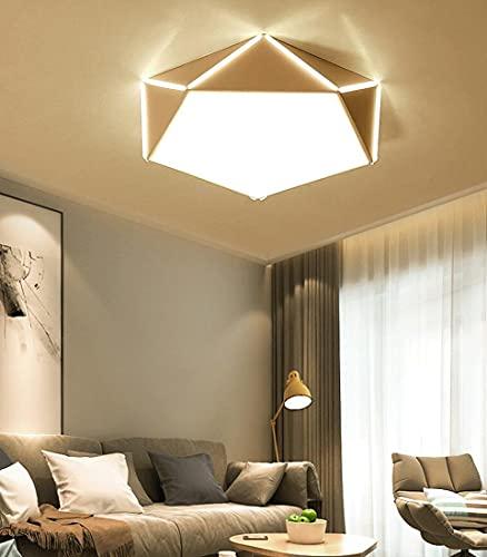 contemporáneo lámpara de techo LED blanca para dormitorio, Sala de estar, con control remoto, Lámpara de plafón Pantalla de acrílico creativa Diseño de metal geométrico Luz de techo regulable 52cm 30W