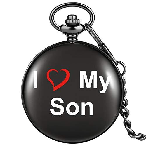 I Love My Son Reloj de Bolsillo de Cuarzo Cubierta Lisa Negra Esfera Grande Blanca Práctico Colgante de Cadena Gruesa Regalo de cumpleaños para Hijo