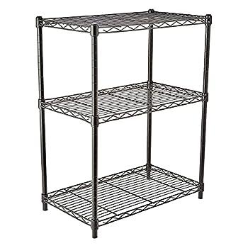 Amazon Basics 3-Shelf Adjustable Heavy Duty Storage Shelving Unit  250 lbs loading capacity per shelf  Steel Organizer Wire Rack Black  23.3L x 13.4W x 30H