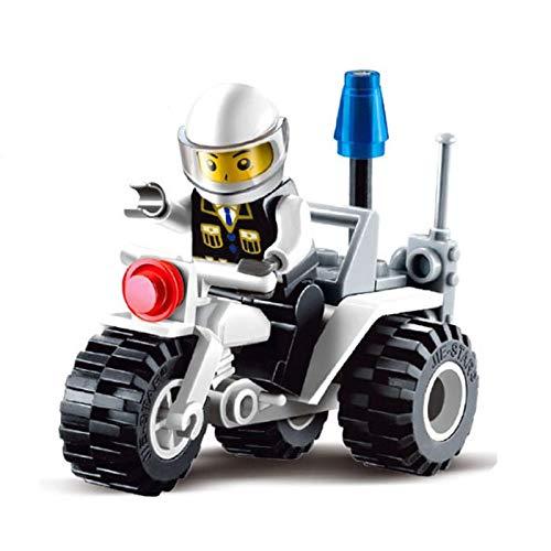 shenlanyu Bloques de construcción Toy City Police Patrol Car Model Figure Bloques educativos Construcción Ladrillos Juguetes para niños