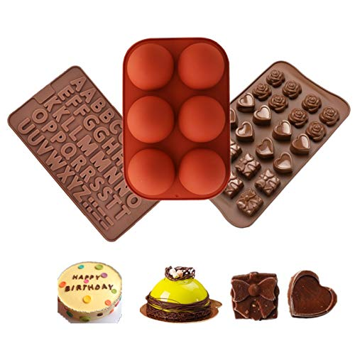 Silicone Chocolate Mold, 3pcs Semi Sphere Silicone Molds, Baking Letter Heart Mold for Making Hot Chocolate Bomb, Candy, Cake, Jelly, Pudding, Handmade Soap, Dome Mousse Mold with Hammer