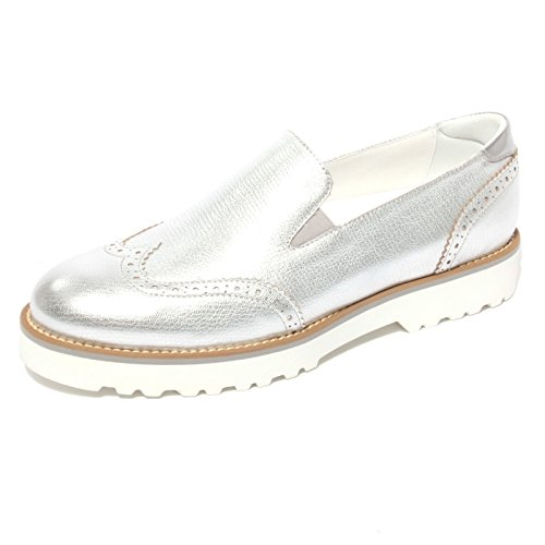Hogan B0677 Mocassino Route Pantofola Argento Scarpa Shoe Donna Loafer Woman [39]