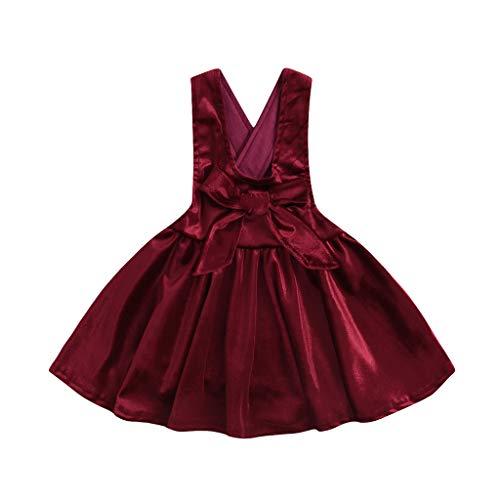 HEETEY HEETEY Kleid Rock Sommer-Kleinkind-Baby-Mädchen ärmellos Einfarbig Bogen Kleid Kleidung Overalls Kleider Sommer Fest Kleid