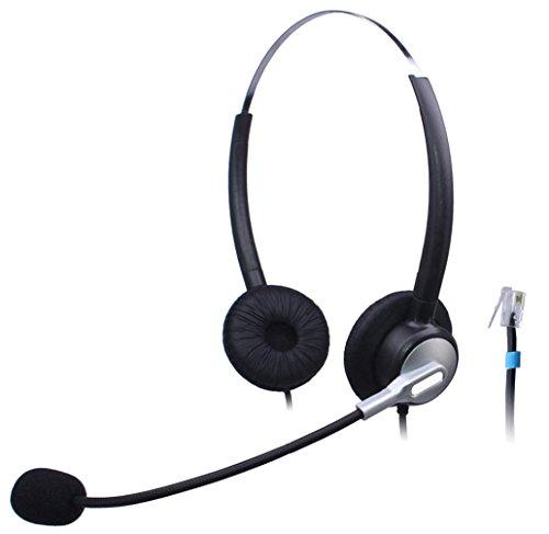 Wantek Binaural Call Center Teléfono Auricular con Micrófono de Cancelación de Ruido para Cisco Unified IP Teléfonos 7931G 7940G 7941G 7942G y Plantronics M10 MX10 Vista Modular Adaptadores(H120S02B)