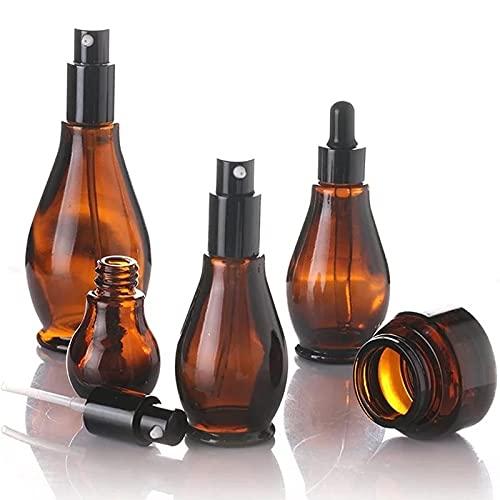 miaoyu Distributeur de liquide vide en verre ambré rechargeable, portable et rechargeable, avec compte-gouttes (couleur : pompe, caractéristiques : 50 ml)