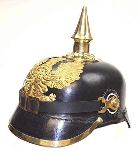 AnNafi German Pickelhaube Helmet | Leather Pickelhaube Imperial Prussian Helmet | Brass Military Officer Spiked Men's Costume | WWI & WWII Helmets Replica LARP Re-Enactment Party Cosplay Costumes