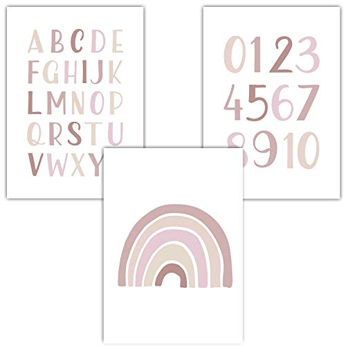 Frechdax® 3er Set Kinderzimmer Poster Babyzimmer DIN A4 ohne Bilderrahmen | Mädchen Junge | Kinderposter Bilder (3er Set Rosa, Alphabet, Regenbogen)