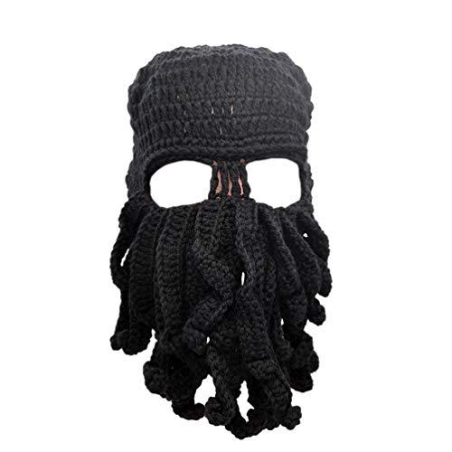 Stylische Unisex Strickmütze Octopus Beanie Winddicht Skimaske Mütze hält Gesicht warm Gr. Einheitsgröße, Schwarz