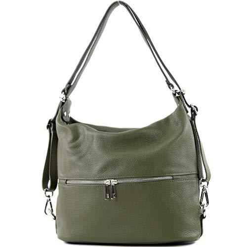 modamoda de - T189 - ital. Damen Rucksack Tasche 2in1 aus Leder, Farbe:Olive