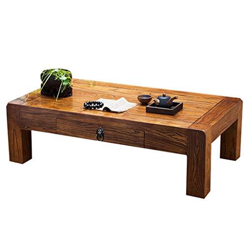 Tables Meubles Bureau Chinoise Salon Basse Chambre en Bois Massif Bureau pour écrire Petite Basse Fenêtre de Style Japonais Petite (Color : Wood Color, Size : 60cm)