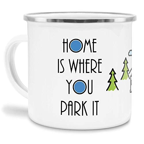 Tassendruck Emaille Tasse Camping mit Spruch - Home is Where You Park it - Campingtasse/Geschenk für Camper/Tasse für Camping - Emaille klein Rand Silber