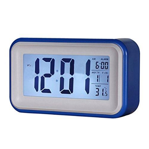 Tinksky digitales de escritorio eléctricos reloj despertador azul con control de luz...